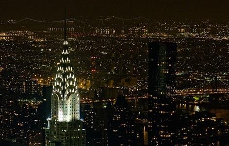 Spotlight on the Chrysler Building, New York